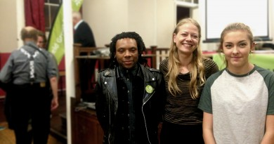Sian Berry with Jarelle Frncis and Safi Jenkins