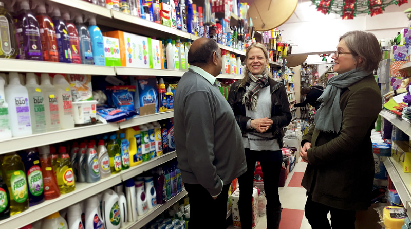 Sian Berry and Caroline Russell visit shops in Highbury