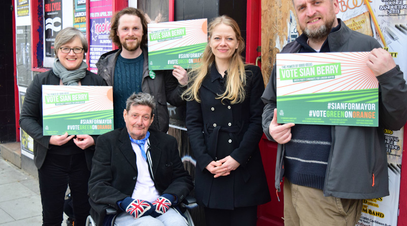 Sian Berry at the Joiners Arms with David Pollard and Green candidates