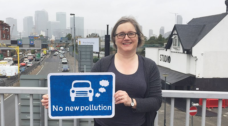 Caroline Russell at the Blackwall Tunnel approach