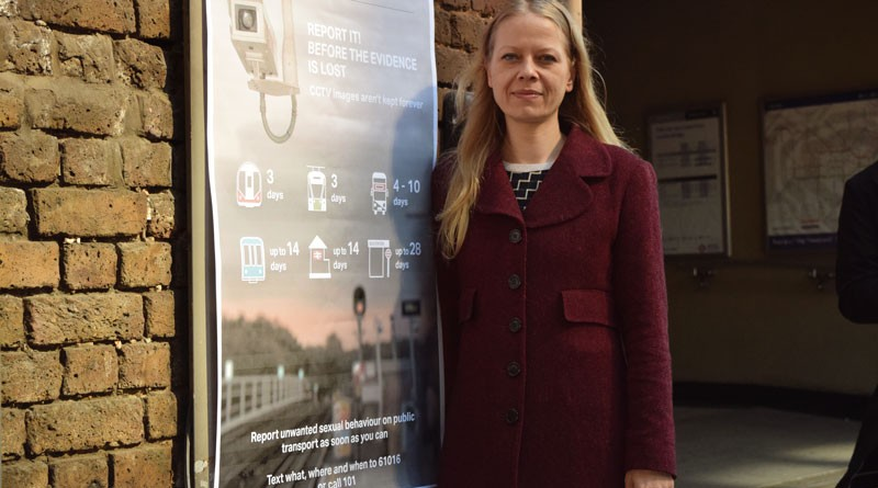 Sian Berry AM with CCTV poster - caught on camera but for how long?