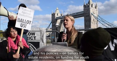 Sian Berry speaking at estate demolition demonstration at City Hall
