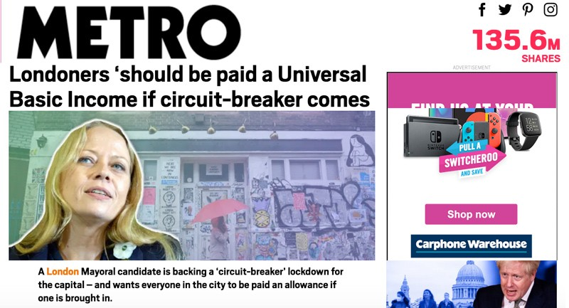Metro story featuring Sian Berry and UBI