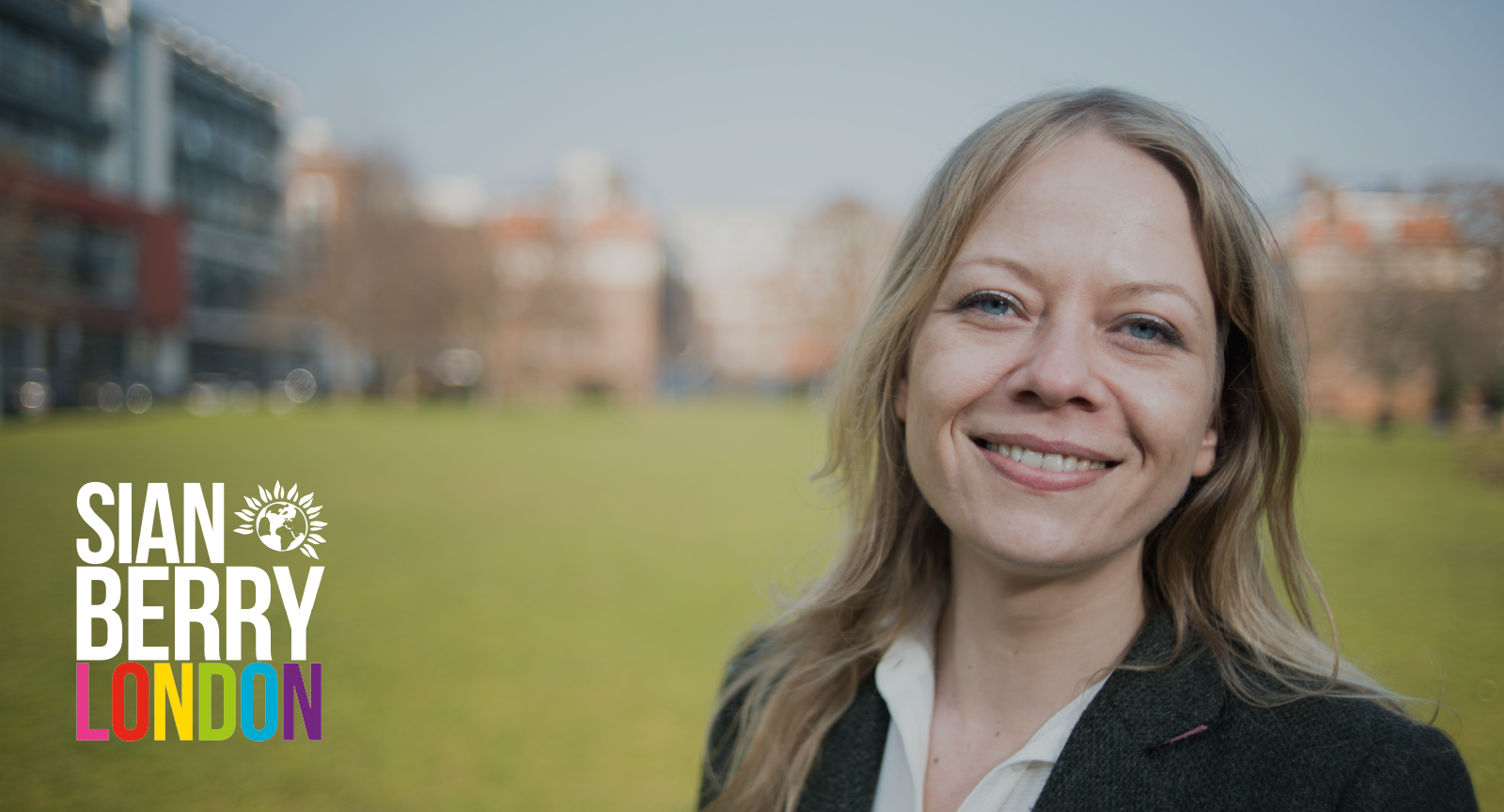 Sian Berry London - in a park with housing
