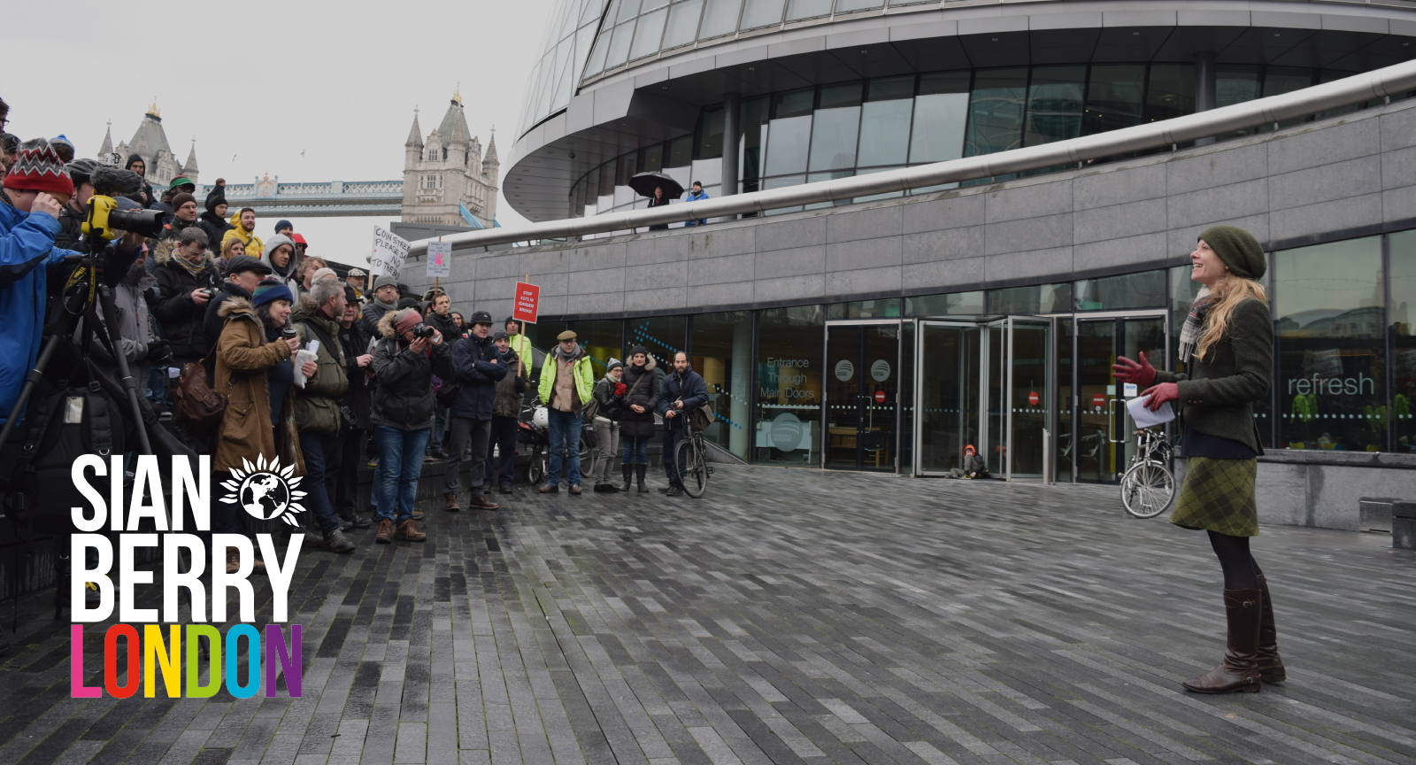 Sian Berry London - speaking outside City Hall